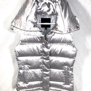 Talbots silver down filled puffer vest wide collar